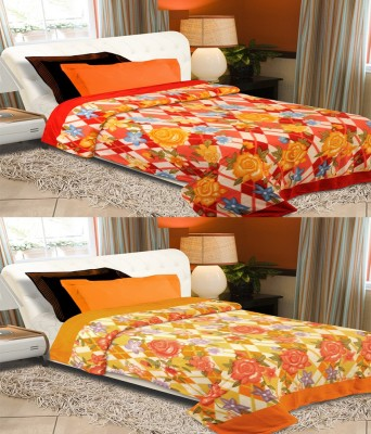 Home Originals Floral Single Blanket Multicolor Fleece Blanket, 2 Single Bed AC Fleece Blanket