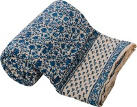 ECraftIndia Floral Double Quilts & Comforters Blue, White One Double Bed High Quality Jaipuri 100% Cotton Quilt