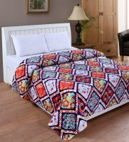 Bed & Bath Geometric Double Blanket Orange, Yellow, Blue, Red, Silver Mink Blanket, Blanket