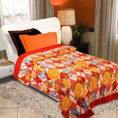 Home Originals Floral Single Blanket Multicolor Fleece Blanket, Single Bed AC Fleece Blanket