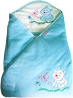Tiny Care Baby Hooded Wrap Velour Blue Blanket (Single)