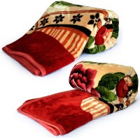 Home India Set Of 2 Soft Red Print S 224 Self Design Double Blanket (Microfiber, Red)