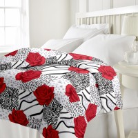 ECraftIndia Red Rose Floral AC (Dohar) Floral Single Blanket (Fallalin)