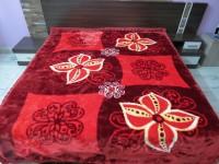 Florida Geometric Double Blanket Red Mink Blanket, 1 Blanket