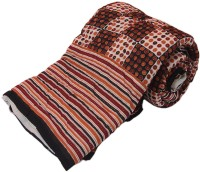 Little India Traditional Gold print Cotton Double Bed Quilt Modern Ethnic Quilt Double
