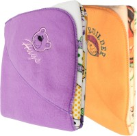 My NewBorn Cartoon Crib Hooded Baby Blanket Purple, Beige (Fleece Blanket, TWO BLANKETS)