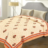 Aapno Rajasthan Cream And Orange Floral Print Bed Floral Double Blanket Orange