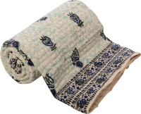 ECraftIndia Floral Double Quilts & Comforters Blue, Green, White One Double Bed High Quality Jaipuri 100% Cotton Quilt