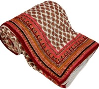 Shoppingtara Gift Jaipuri Print Bed Razai Quil Printed Double Blanket (100% Cotton, White, Red)