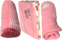 My NewBorn Cartoon Single Fleece Blanket Pink (Pack Of 3 With Shawl Classic Fleece And Reversible Fleece In Pink Color)