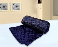 Easy Clean Self Design Double Quilt Blue