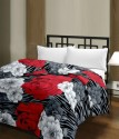 Blankets World Red & White Flowers Ac Floral Blanket - Single
