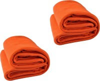 Kema Plain Single Blanket Orange Fleece Blanket, 2 Polar Fleece Blanket