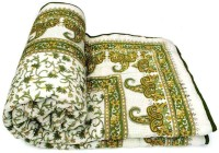 Ocean Enterprises Floral Single Quilts & Comforters Multicolor Blue And White Jaipuri Single Bed Quilt