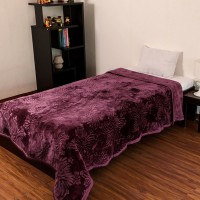 Fab Ferns Plain Double Blanket Purple, Blanket