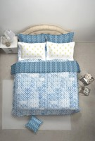 Spaces By Welspun Embroidered Double Blanket Blue