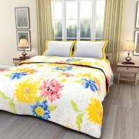 ECraftIndia Floral Double Blanket Multicolor AC Blanket, One Double Bed Reversible AC Blanket