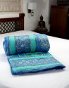 Jodhaa Quilt In Blue, Green, Black, Gold Combo Quilt - Double