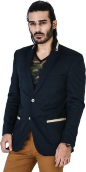 Mr Button Blue Cotton With Beige Collar Detail Solid Single Breasted Casual Men's Blazer