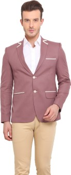 Ennoble Solid Single Breasted Casual Men's Blazer - BZRED7CNT7UK9DFE