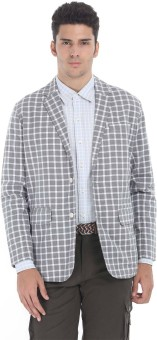 Zobello Checkered Single Breasted Casual Men's Blazer - BZRE9GZHWU9CWFG4