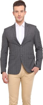 Ennoble Checkered Single Breasted Casual Men's Blazer