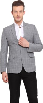 Ennoble Checkered Single Breasted Casual Men's Blazer - BZRED7CNTXGEYYXC