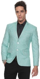 The Design Factory Solid Single Breasted Party Men's Blazer