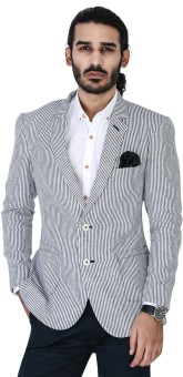 Mr Button Blue Stripe Linen Striped Single Breasted Casual Men's Blazer