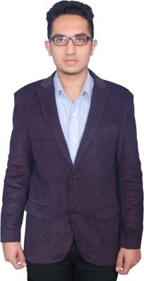 Fashion Fashion Style Solid Single Breasted Formal Men's Blazer (Violet)