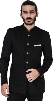 Mr Button Black Formal Bhandhgala With Leather Detail Solid Single Breasted Casual Men's Blazer