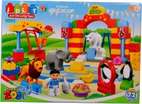 Mera Toy Shop Zoo Block Construction -72 PCS (Multicolor)