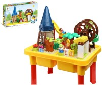 Toys Bhoomi Happy Ville Family Farm Building Blocks Table Set - 54 Pieces (Multicolor)