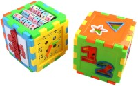 LAVIDI Set Of Two Multi Color Learning Cube Block For Kid Above 18 Month (Multicolor)