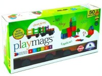 Playmags Clear Colors Magnetic Tiles Building Set 50 Piece Set Includes Magnetic Cars (Multicolor)
