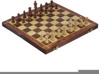 Craft Art India Wooden Folding Non-Magnetic Chess With Storage Of Pieces Set 14 X 14 Inches Board Game