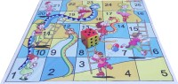 Atpata Funky 5x5 Ft Mat Snakes& Ladders (Kids / Dolls Theme) & Dice 5inch Board Game