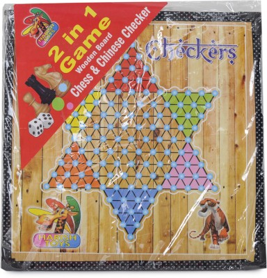Harish Toys Board Games Harish Toys Wooden Chess & Chinese Checkers Board Game