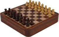 Craft Art India Brown Square Wooden Chess And Magnetic Pieces Set With Storage 7 X 7 Inches Board Game