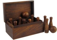 Crafts'man A Miniature Bowling Set With Pins And Balls Wooden Board Game