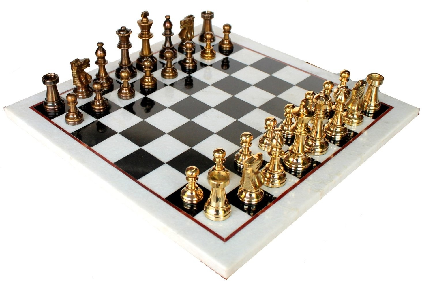 Stonkraft collectible marble chess game board set brass crafted pieces board game collectible - Collectible chess sets ...