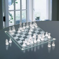 Crystal Clear 2 In 1 Glass Set Chess Marble Checkers Set Board Game