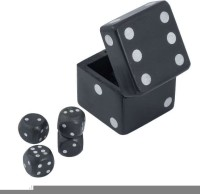 Craft Art India Handmade Wooden Dice In Dice Game Set - 2.5 Inches In Black Colour Board Game
