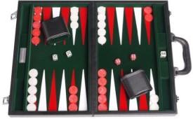 "GammonVillage Leatherette Backgammon Set (15"" Large Case) Black/Green Board Game"