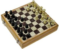 Radhey Shatranj Of White And Black Marble Big And Fine Work In 12 Inch Chess Board (White)