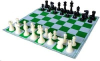 Playking Tournament Vinyl Foldable Chess Set With Plastic Staunton Pieces & Bag 17 Inch Chess Board (Multicolor)