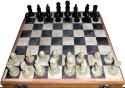 Traditional Rajasthan Handcrafted Stone Inlaid With Stone Carved Coins, Pieces 12 Inches Chess 8 Cm Chess Board - Multicolor