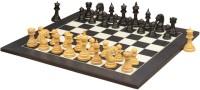 Chessbazaar Ferocious Elite Series Set & Black Anigre Maple 4.3 Inch Chess Board (Black, White)