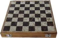 Pooja Creation Of White And Black Marble And Wooden On Bottom 8 Inch Chess Board (White)