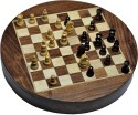 Chessbazzar Travel Series Round Magnetic Fitted Chess Chess Board - Off White, Brown